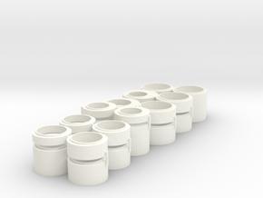 1/87 HO Schächte DN1200 + DN1500, Set 2 in White Processed Versatile Plastic