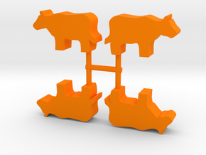 Cow Meeple, standing, 4-set in Orange Processed Versatile Plastic