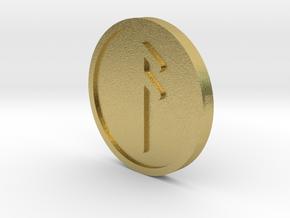 Ansuz Coin (Elder Futhark) in Natural Brass