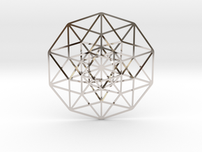 "5D Hypercube 2.75"" in Rhodium Plated Brass"