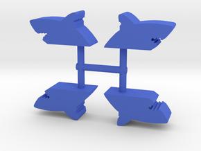 Shark Bite Meeple, 4-set in Blue Processed Versatile Plastic