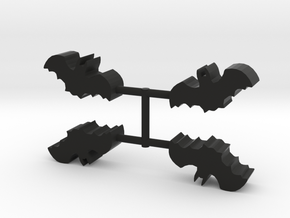 Bat Meeple, 4-set in Black Natural Versatile Plastic