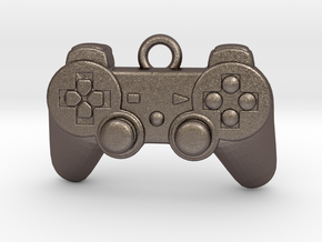 PlayStation Controller Pendant all materials gamer in Polished Bronzed-Silver Steel