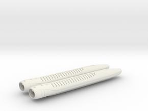 1/1400 USS Ambassador proposal Nacelles in White Natural Versatile Plastic