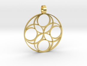 Eternal  Flower Earth pendant 3-2 in Polished Brass