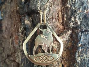 Celtic Zodiac Bull Pendant in Natural Brass