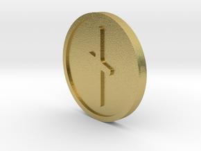 Naudiz Coin (Elder Futhark) in Natural Brass