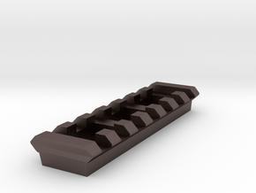 Side Picatinny Rail (7 Slots) for Nerf RevReaper in Polished Bronzed-Silver Steel