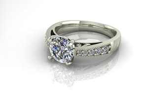 Classic 1ct Solitaire  in Fine Detail Polished Silver