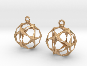 Stellated Dodecahedron Earrings in Natural Bronze