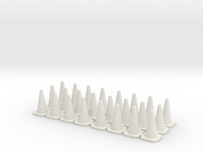 Traffic Cones 01. 1:43 scale in White Natural Versatile Plastic