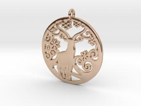 Deer-Circular-Pendant-Stl-3D-Printed-Model in 14k Rose Gold: Medium