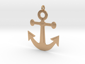 Anchor Pendant 3D Printed Model in Natural Bronze: Medium