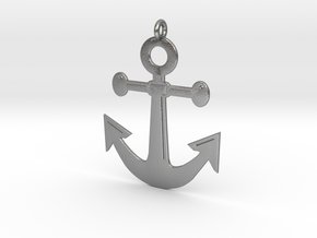 Anchor Pendant 3D Printed Model in Natural Silver: Medium