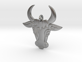 Bull Face Pendant 3D Printed Model in Natural Silver: Medium