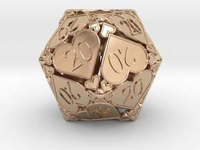 [BETA] D20 Custom - Hearts (All 20s) in 14k Rose Gold Plated Brass
