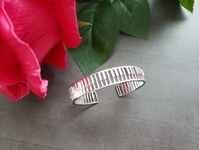 Piano Bracelet in Rhodium Plated Brass: Small