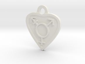 Transgender Heart in White Natural Versatile Plastic