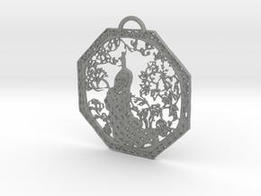 Chinese Peacock Pendant in Gray PA12: Medium