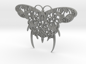 Japanese Butterfly Pendant in Gray PA12: Medium