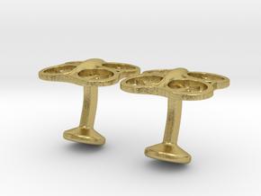 Drone Cufflinks in Natural Brass