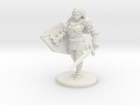Human Female Fighter/Paladin in White Natural Versatile Plastic