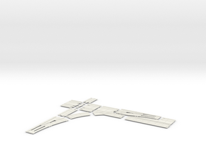 SINGLE TURNOUT X 90 DOUBLE TRACK LEFT in White Natural Versatile Plastic