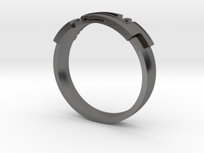 Digital Ring Male in Polished Nickel Steel