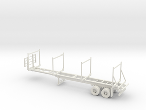 Timber Trailer With Wheels Fixed 1-87 HO Scale in White Natural Versatile Plastic