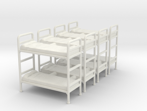 Bunk bed 01. 1:72 Scale  in White Natural Versatile Plastic
