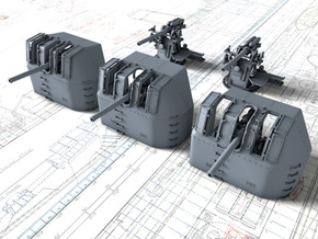 "1/700 RN 4"" MKV P Class Guns x5 in Smoothest Fine Detail Plastic"