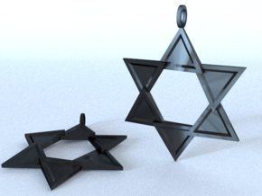 Star Of David in Polished Bronzed Silver Steel