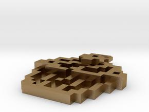 Pixel Art  - Cupcake in Polished Gold Steel
