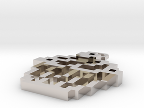 Pixel Art  - Cupcake in Rhodium Plated Brass