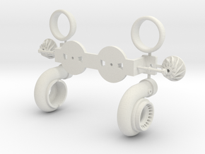 PM029-RC Pro Mod Twin Turbocharger Set in White Natural Versatile Plastic