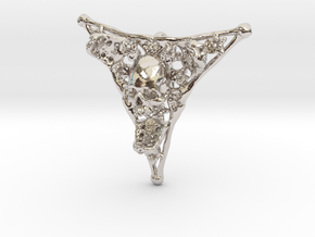 Triangle Bone Pendant in Rhodium Plated Brass