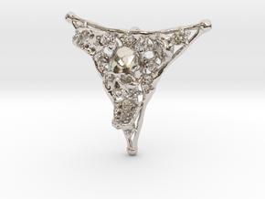 Triangle Bone Pendant in Rhodium Plated Brass
