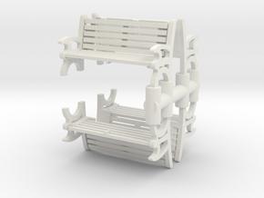 Bench (4 pieces) 1/56 in White Natural Versatile Plastic