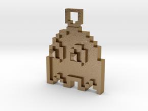 Pixel Art  - Pacman - Ghost in Polished Gold Steel