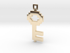 Pixel Art  -  Key  in 14K Yellow Gold