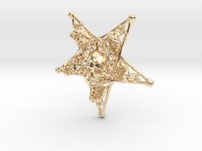 Inverted Pentagram Bone Pendant in 14k Gold Plated Brass