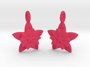 Flower Earrings in Pink Processed Versatile Plastic