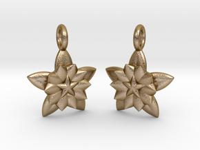 Flower Earrings in Polished Gold Steel