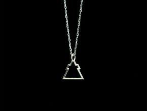 Triangle Cross pendant - Small/Medium in Polished Silver: Small