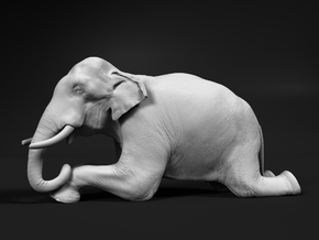 Indian Elephant 1:12 Kneeling Male in White Natural Versatile Plastic