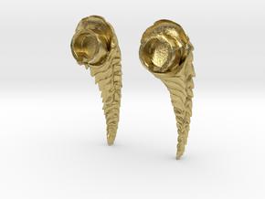Horn design nude heels 2 in Natural Brass