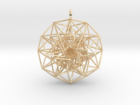 6D Cube in its Toroidally folded form - 50x1mm in 14k Gold Plated Brass