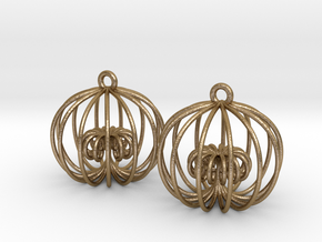 Golden Ratio Cage Earings  --mk1 in Polished Gold Steel