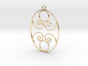 Golden Ratio Oval pendant -- mk1  in 14K Yellow Gold