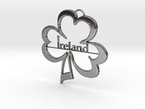 Ireland Clover Pendant in Fine Detail Polished Silver: Medium